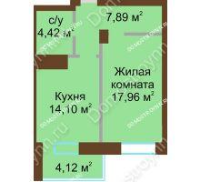 1 комнатная квартира 48,49 м² - ЖК Подкова Приокская