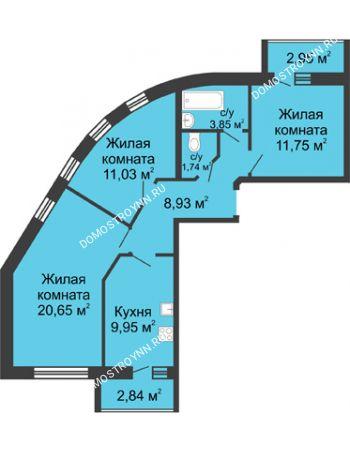 3 комнатная квартира 70,8 м² - ЖК Волжский-Берег