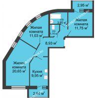 3 комнатная квартира 70,8 м², ЖК Волжский-Берег - планировка