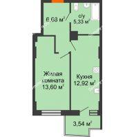 1 комнатная квартира 39,66 м² в ЖК Сердце Ростова 2, дом Литер 8 - планировка