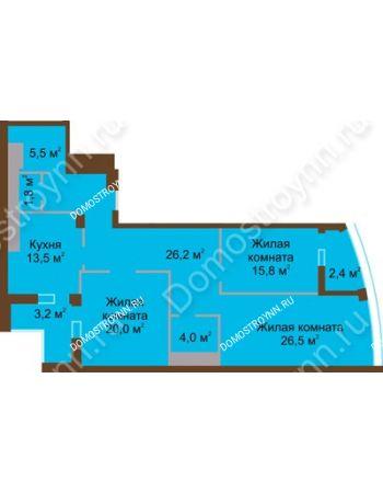 3 комнатная квартира 118,9 м² в ЖК Монолит, дом № 89, корп. 1, 2