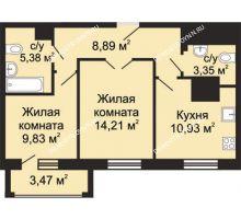 2 комнатная квартира 54,33 м², ЖК Гелиос - планировка