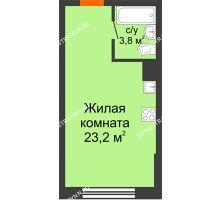 Студия 27 м² в ЖК Подкова на Родионова, дом № 2 - планировка