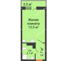 Студия 20,1 м² в ЖК SkyPark (Скайпарк), дом Литер 1, корпус 2 - планировка