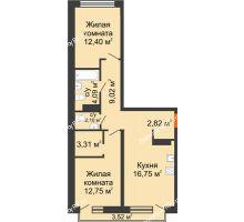 2 комнатная квартира 64,3 м² в Микрорайон Видный, дом ГП-20 - планировка