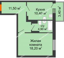 1 комнатная квартира 46,8 м² в ЖК Я, дом  Литер 2 - планировка