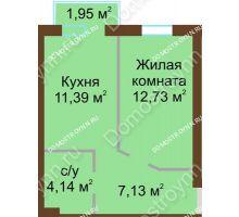 1 комнатная квартира 35,98 м² в ЖК Каменки, дом №14