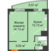 1 комнатная квартира 41,98 м² в ЖК Нива, дом №37 - планировка