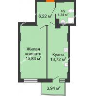 1 комнатная квартира 41 м² в ЖК Сердце Ростова 2, дом Литер 8 - планировка