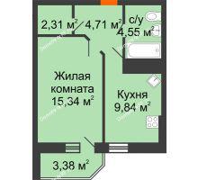 1 комнатная квартира 38,44 м² в ЖК Берег, дом 1 секция  - планировка