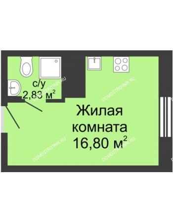 Студия 19,63 м² в ЖК Красная поляна, дом № 6