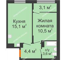 1 комнатная квартира 36,7 м² в ЖК Новая Кузнечиха, дом № 28 - планировка