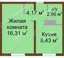 1 комнатная квартира 31,87 м² в ЖК Бурнаковский, дом № 24