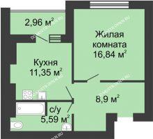 1 комнатная квартира 44,16 м² в ЖК Парк Горького, дом 62/2, №4