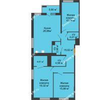 3 комнатная квартира 112,2 м² в ЖК Россия. Пять Столиц, дом 3 Этап - планировка