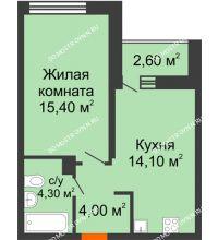1 комнатная квартира 39,1 м² в ЖК Заречье, дом № 6 - планировка