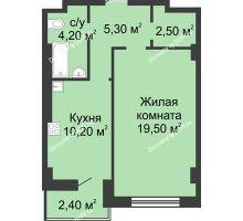 1 комнатная квартира 42,9 м², ЖК 8 марта - планировка