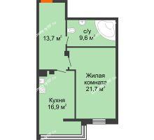 1 комнатная квартира 61,9 м², Клубный дом Green Вита (Грин Вита) - планировка