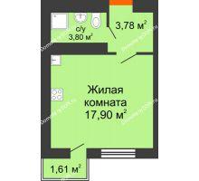 Студия 25,48 м² в ЖК Мечников, дом ул. Таврическая, 4 - планировка