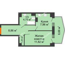 1 комнатная квартира 36,85 м² в ЖК Сердце Ростова 2, дом Литер 4 - планировка