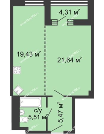 1 комнатная квартира 54 м² - ЖК Бристоль