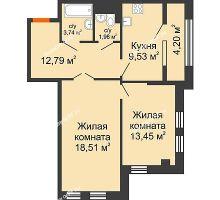 2 комнатная квартира 64,2 м² в ЖК СИТИДОМ, дом 4 очередь,корпус 3 - планировка