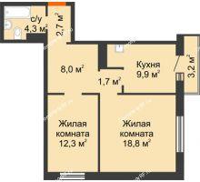 2 комнатная квартира 58,6 м² в ЖК на Калинина, дом № 2.1 - планировка