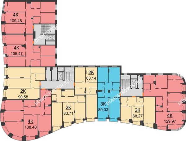 Клубный дом на Ярославской - планировка 4 этажа