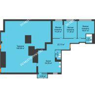 3 комнатная квартира 117,3 м² в ЖК Книги, дом № 1 - планировка