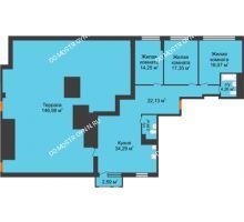 3 комнатная квартира 117,3 м² в ЖК Книги, дом № 2 - планировка