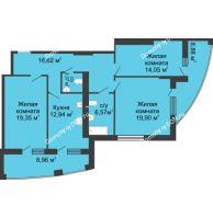 3 комнатная квартира 110,5 м² в ЖК Тихий Дон, дом № 1 - планировка