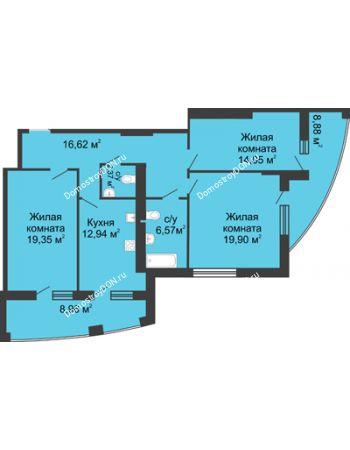 3 комнатная квартира 110,5 м² в ЖК Тихий Дон, дом № 1