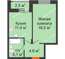 1 комнатная квартира 39,05 м² в ЖК Октава, дом №7 - планировка