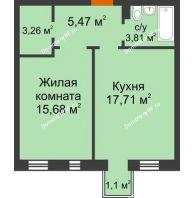 1 комнатная квартира 46,26 м² в ЖК Новоостровский, дом № 2 корпус 1 - планировка
