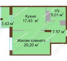 1 комнатная квартира 50,21 м² в ЖК Высоково, дом № 2 - планировка