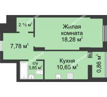 1 комнатная квартира 43,58 м² в ЖК Маленькая страна, дом № 3 - планировка