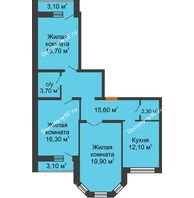 3 комнатная квартира 87,4 м² в ЖК Елецкий Лайт , дом № I-14 - планировка
