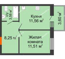 1 комнатная квартира 35,98 м² в ЖК Южный бульвар, дом №14 - планировка