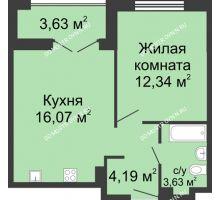 1 комнатная квартира 38,04 м² в ЖК Клевер, дом № 1 - планировка