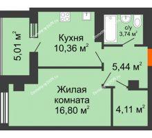 1 комнатная квартира 45,46 м², ЖК Площадь Ленина - планировка