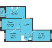 3 комнатная квартира 80,2 м² в ЖК Вересаево, дом Литер 9/2 - планировка