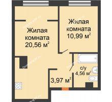"""2 комнатная квартира 40,08 м² в ЖК Европейский берег, дом ГП-9 """"Дом Монако"""" - планировка"""