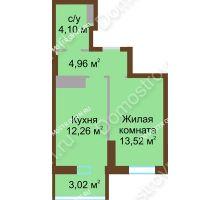 1 комнатная квартира 37,86 м² в ЖК Красная поляна, дом № 8