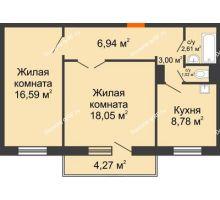 2 комнатная квартира 58,27 м² в ЖК Иннoкeнтьeвcкий, дом № 6