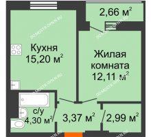 1 комнатная квартира 39,3 м², ЖК На Высоте - планировка