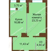 1 комнатная квартира 60,06 м² в ЖК Подкова на Панина, дом № 7, корп. 6 - планировка