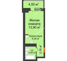 Студия 30,7 м² в ЖК Звездный-2, дом № 3 - планировка
