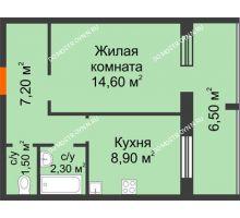 1 комнатная квартира 37,8 м² в ЖК Удачный 2, дом № 1 - планировка