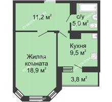 1 комнатная квартира 46,8 м² в ЖК Цветы, дом № 26 - планировка