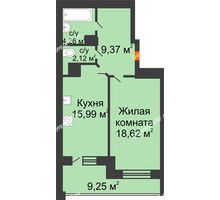 1 комнатная квартира 54,96 м², ЖД Эльбрус - планировка